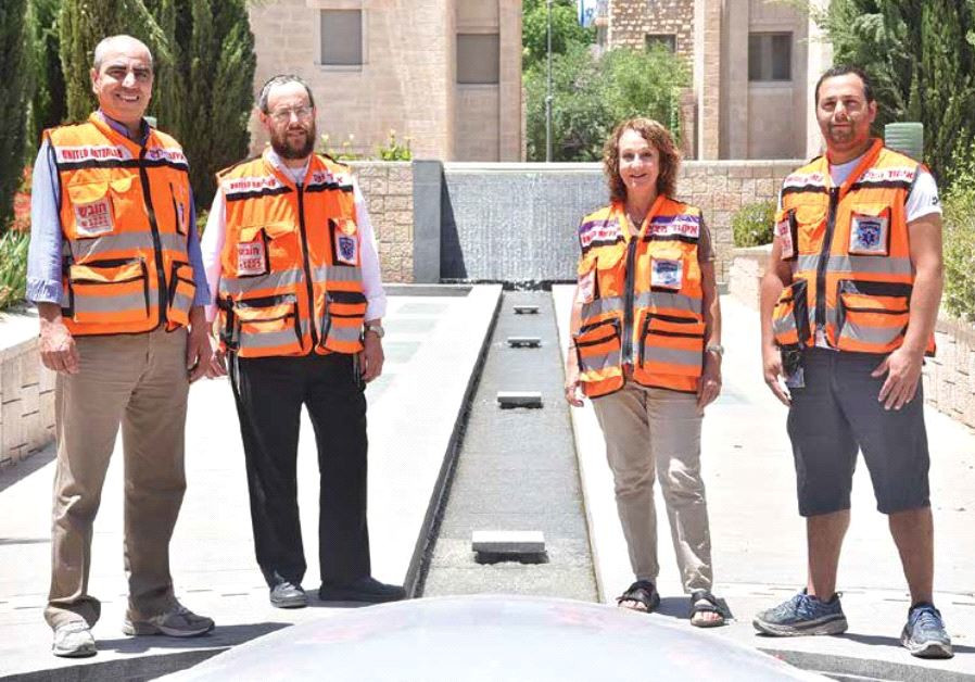 United Hatzalah volunteers representing the diversity of its members, from left to right: Khaled Ris