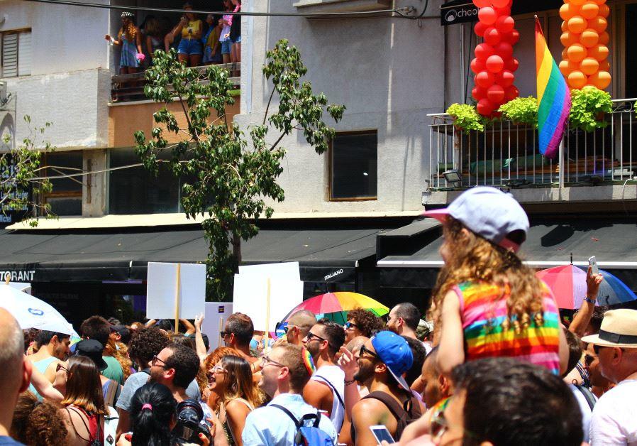 Tel Aviv Pride participants enjoying the celebrations, June 9 2017.