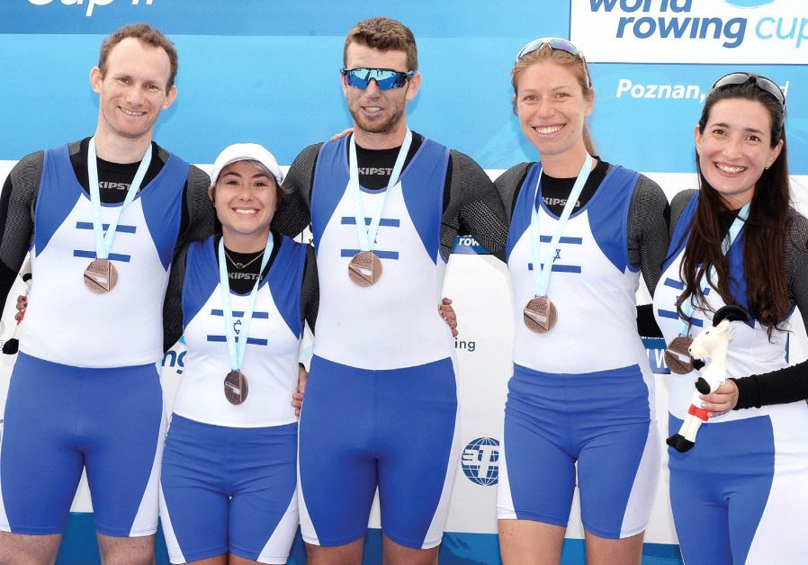The memberS of Israel's Paralympic mixed coxed four rowing team (from left) Barak Hazor, Leah Sass,