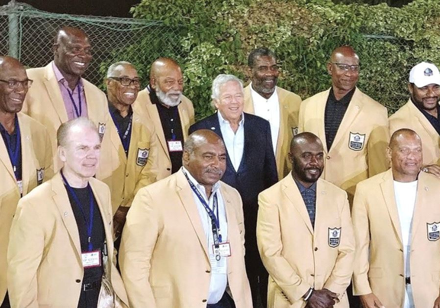 THE VISITING MEMBERS of the Pro Football Hall of Fame (clockwise from top row left) Dave Kasper, Bru
