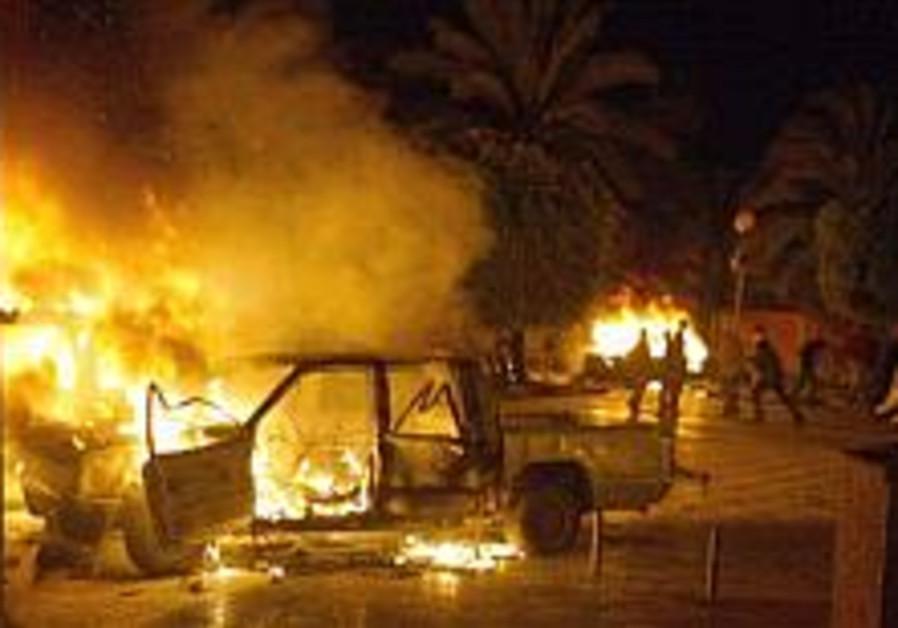riots in Gaza, Fatah , burning cars 298 ap