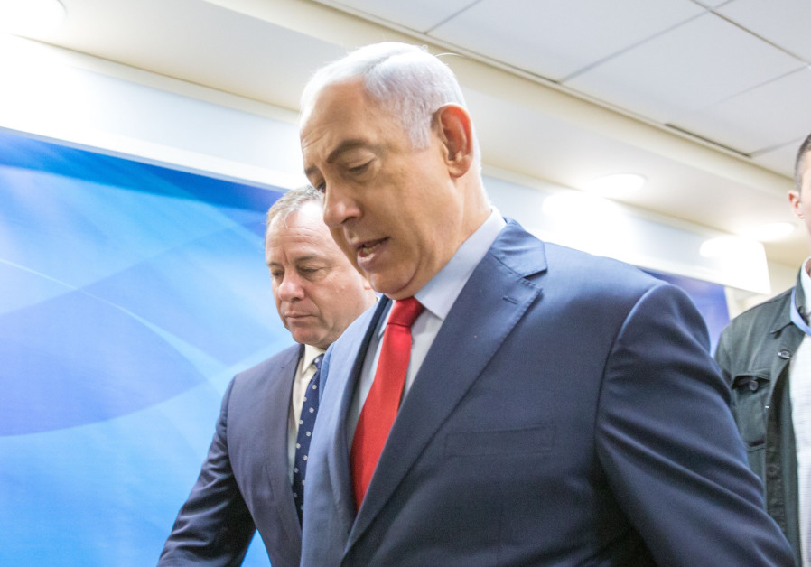 Netanyahu en route to a security cabinet meeting, August 2017