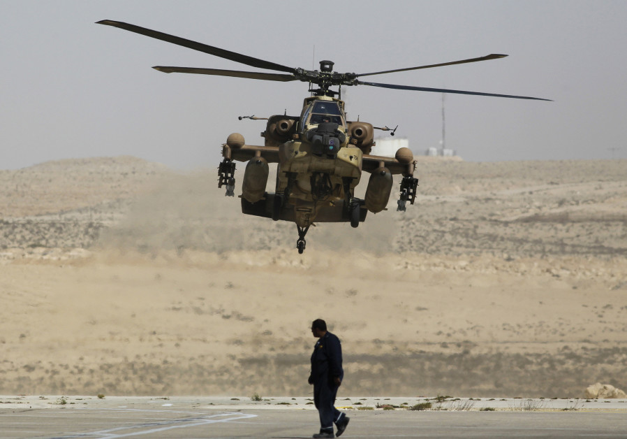 Israeli Apache helicopter lands at Ramon air base