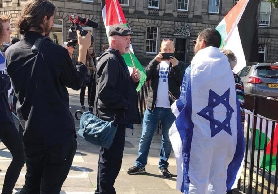 Pro-Israeli and pro-Palestinian protestors at the Shalom Festival in Scotland