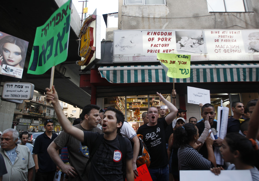 Residents of south Tel Aviv protest against African migrants living in their neighbourhood
