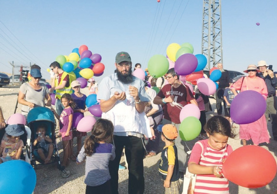 ISRAELIS FROM the Binyamin area and right-wing activists protest against illegal Beduin construction