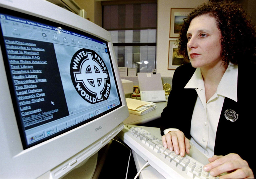 Anti-Defamation League Civil Rights Counsel Lauren Levin looks at a white supremacist web site run b