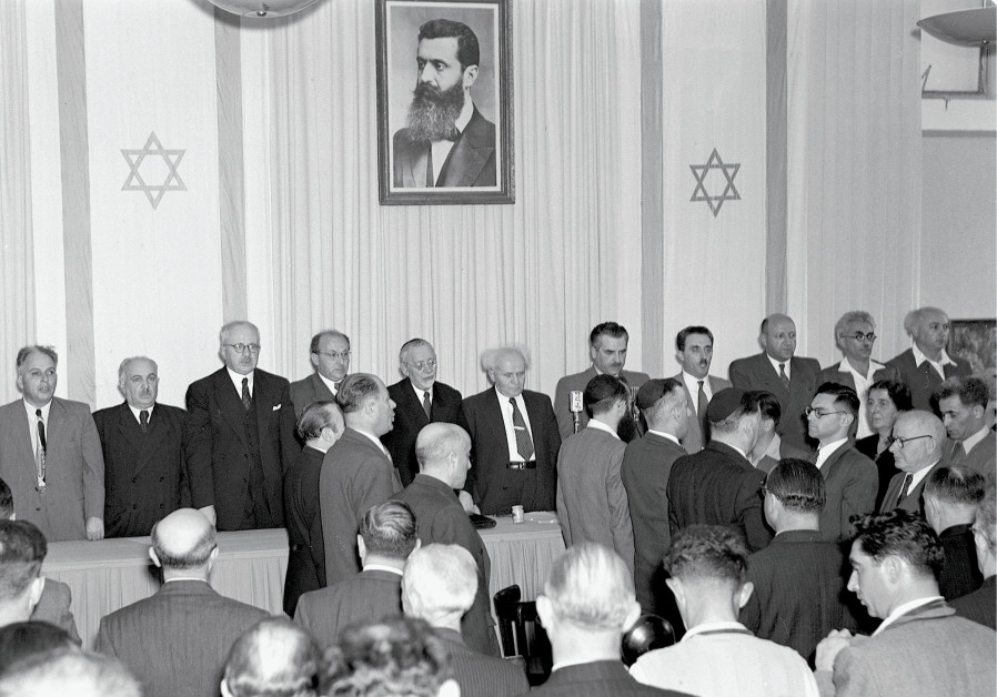 David Ben Gurion at the center as the state of Israel is declared May 14 1948