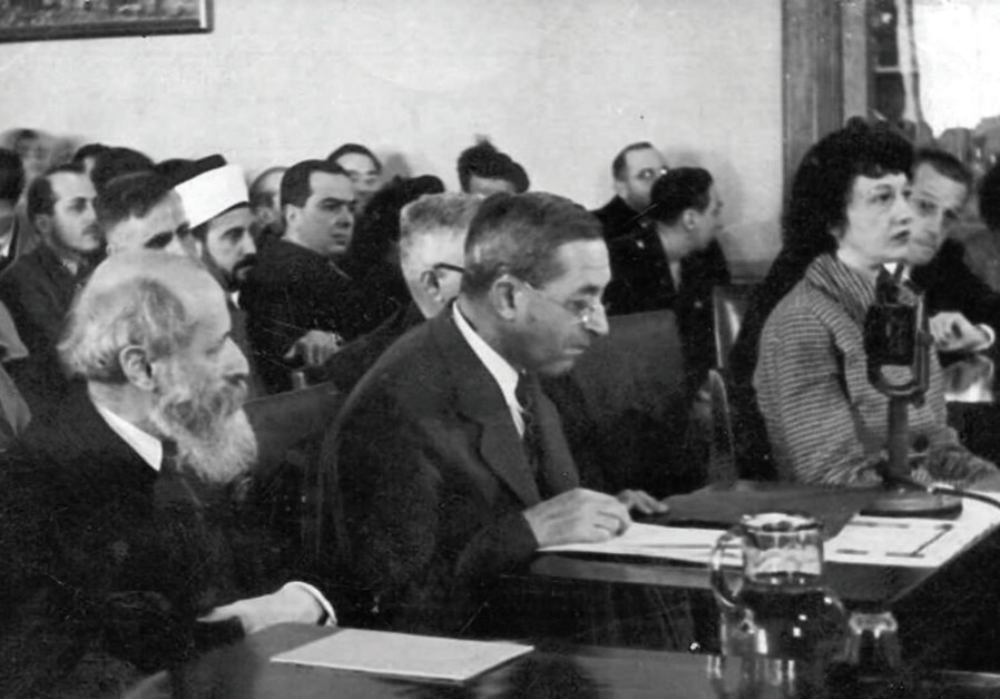 Martin Buber (left) and Judah Magnes (center) testifying before the Anglo- American Committee of Inq