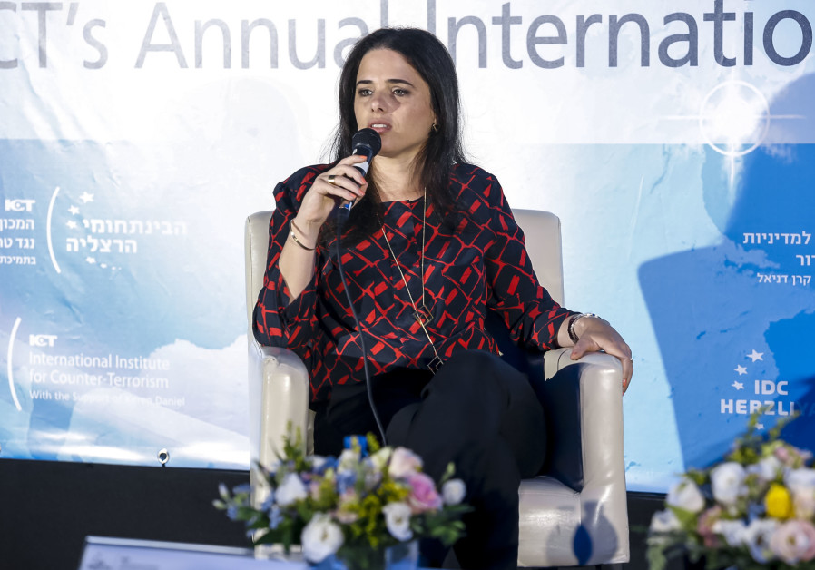 Justice Minister Ayelet Shaked speaks at the ICT Conference n Herzliya