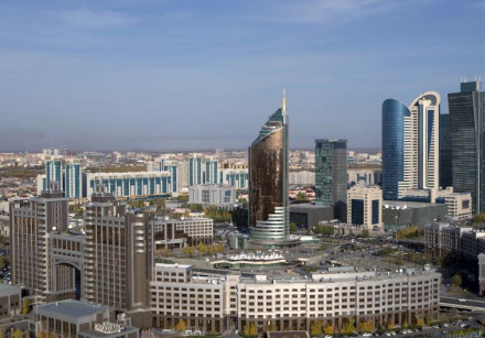 A general view of downtown with Kazakhstan's national oil company KazMunayGas (KMG) headquarters (fr