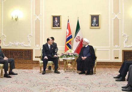 Iranian President Rouhani and North Korean politician Kim Yong-Nam