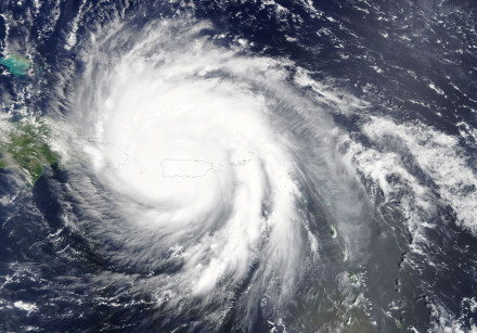 Hurricane Maria is pictured over Puerto Rico.