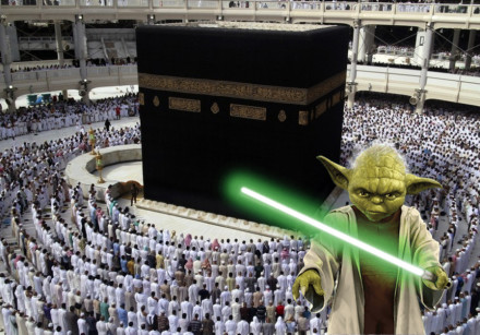 An edited picture of Yoda in Mecca.