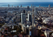 THE TEL AVIV skyline; the area around the city is home to many Israeli start-ups