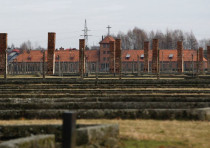 A CROSS is seen in the German death camp Auschwitz II Birkenau.