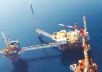 AN AERIAL SHOT of Prinos, a Greek oil reservoir that belongs to the energy firm Energean.