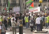 Participants in London's annual Al Quds March in support of the Palestinian people