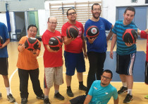 Once a week, Yachad kids participate in English-language basketball training as part of a joint prog