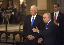 Vice President Mike Pence, left, with Argentine Foreign Minister Jorge Faurie during a wreath-laying