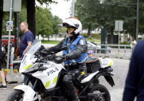 Finnish police patrols on motorbike after stabbings in Turku, in Central Helsinki, Finland 8/8/2017.