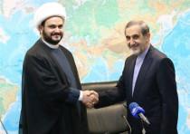 Akram Kaabi, the leader of Nujaba, meets with Ali Akbar Velayati, senior advisor to the supreme lead