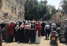 protests by Palestinians today at Lion's Gate
