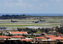 A view of U.S. military planes parked on the tarmac of Andersen Air Force base on the island of Guam