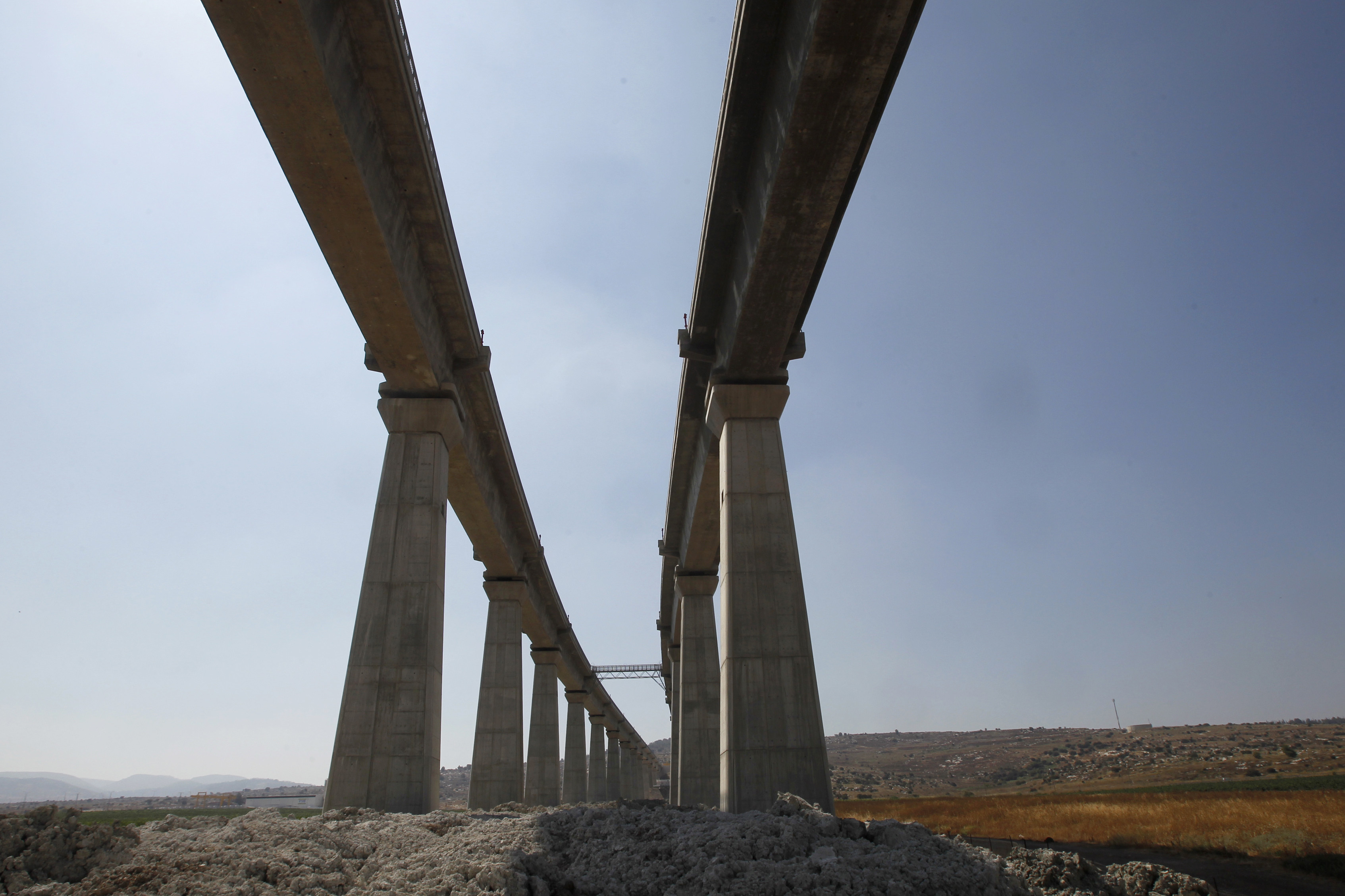 A bridge, part of Israel Railways' Jerusalem High Speed Link project, is seen near the Israeli town of Modiin July 7, 2012. (Reuters/Baz Ratner)