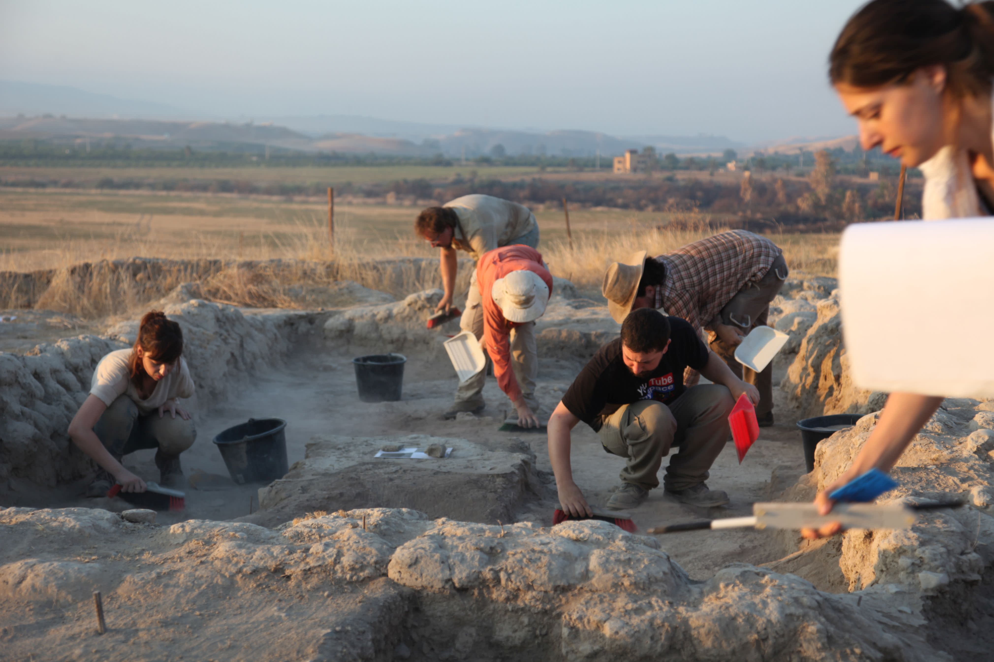 Archeologists working at the Tel Tsaf excavation site near the Jordan River. (Courtesy of University of Haifa)