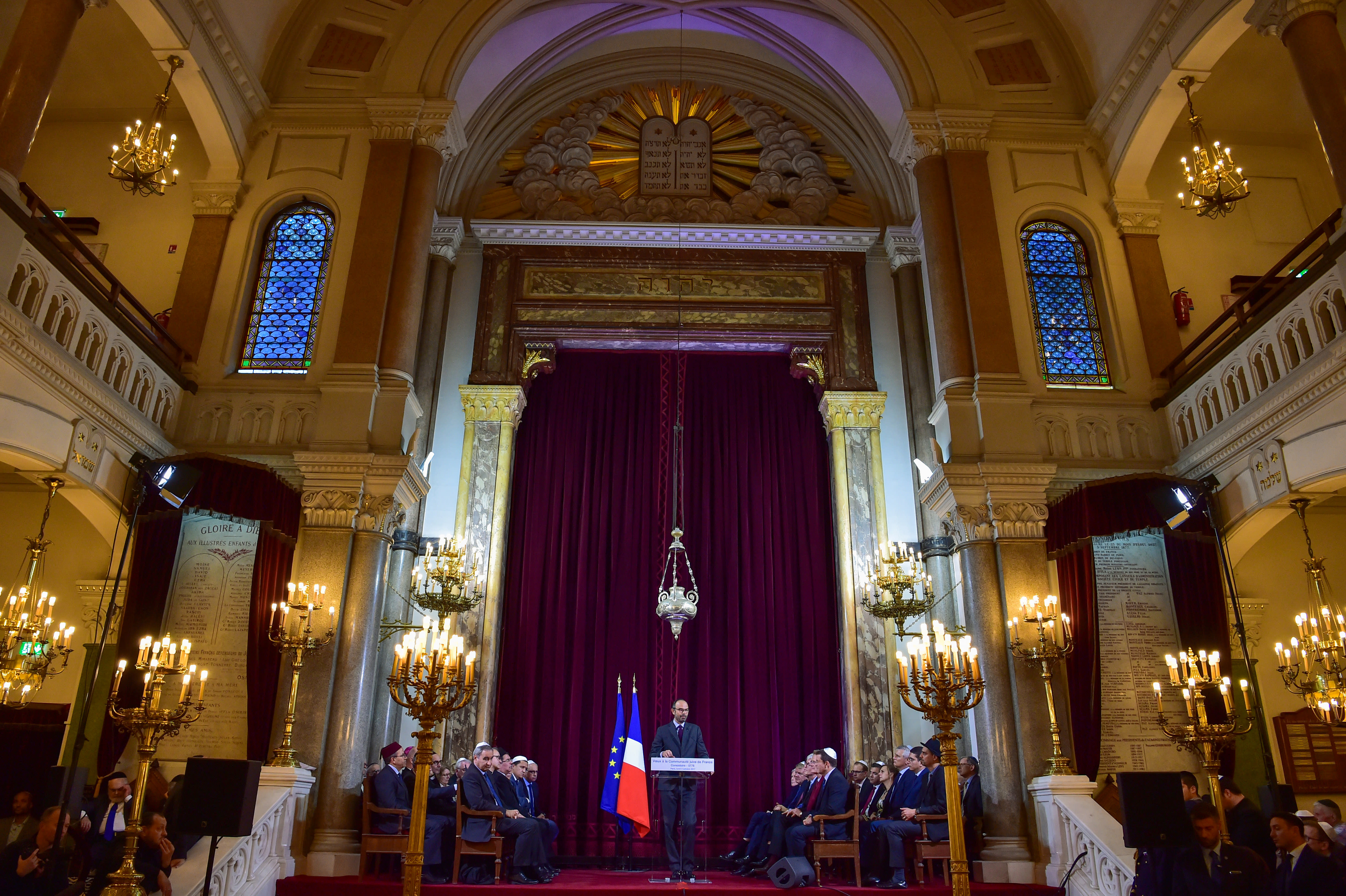 French Prime Minister Edouard Philippe delivers a speech to the Jewish Community for the Jewish New Year, or Rosh Hashanah, at the Buffault Synagogue in Paris, France, October 2, 2017. (Reuters)