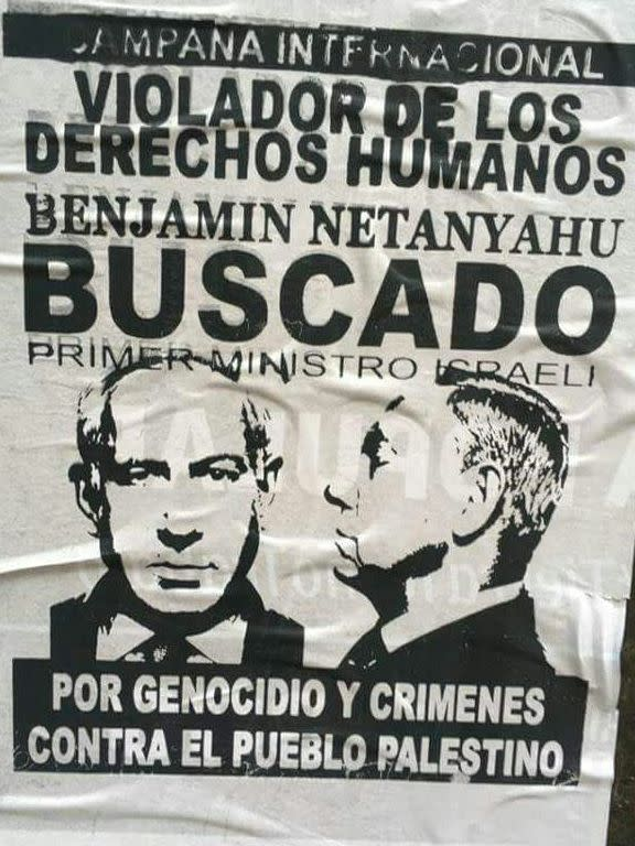 A poster depicting Benjamin Netanyahu as a wanted war criminal (World Zionist Organization)